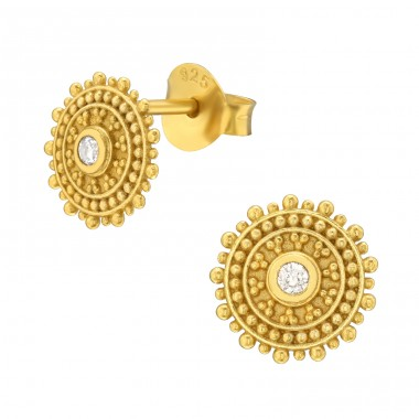 Golden sun with crystal - 925 Sterling Silver Plain Ear Studs A4S42148