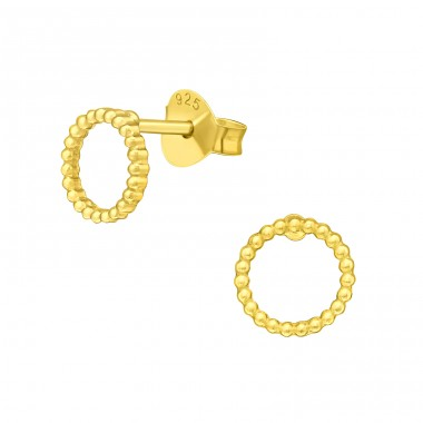 Golden mini balls in Circle - 925 Sterling Silver Plain Ear Studs A4S42151