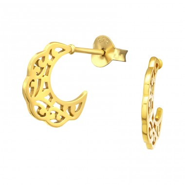 Crescent Moon 18k Gold - 925 Sterling Silver Plain Ear Studs A4S42158