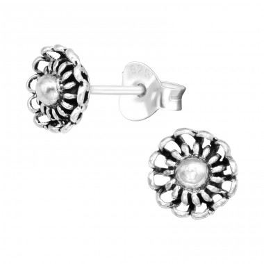 Flower with middle silver ball - 925 Sterling Silver Plain Ear Studs A4S42243