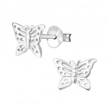 Butterfly - 925 Sterling Silver Plain Ear Studs A4S581