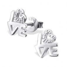Love - 925 Sterling Silver Plain Ear Studs A4S590
