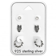 Owl Ear Stud And Bali Hoop - 925 Sterling Silver Jewellery Sets A4S28487