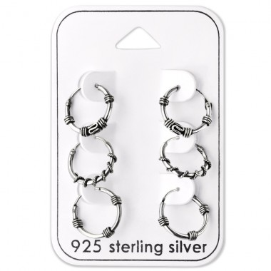 Bali Hoops - 925 Sterling Silver Jewellery Sets A4S28465