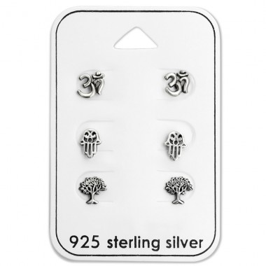 Oxidized - 925 Sterling Silver Jewellery Sets A4S28484