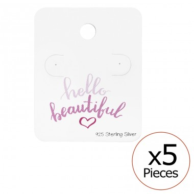 Hello Beautiful Ear Stud Cards - Paper Jewellery Sets A4S34084