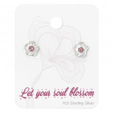 Flower Ear Studs With Crystal On Cute Card - 925 Sterling Silver Jewellery Sets A4S34127