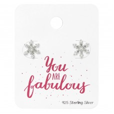 Snowflake Ear Studs With Cubic Zirconia On You Are Fabulous Card - 925 Sterling Silver Jewellery Sets A4S34130