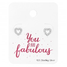 Heart Ear Studs With Crystal On You Are Fabulous Card - 925 Sterling Silver Jewellery Sets A4S34132