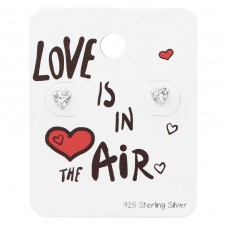Heart Ear Studs With Cubic Zirconia On Love Is In The Air Card - 925 Sterling Silver Jewellery Sets A4S34136