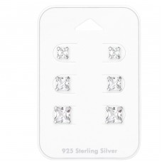 4Mm, 5mm And 6mm Square - 925 Sterling Silver Jewellery Sets A4S35242