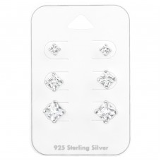 3Mm, 5Mm, 6mm Square - 925 Sterling Silver Jewellery Sets A4S35245