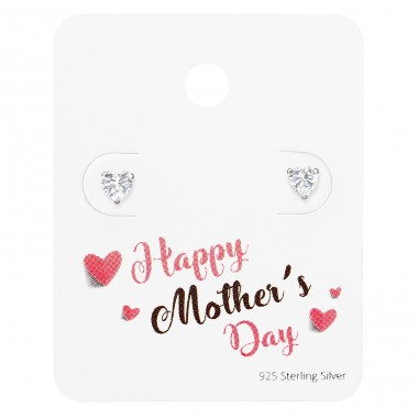 Heart Ear Studs On Happy Mother's Day Card - 925 Sterling Silver Jewellery Sets A4S35875