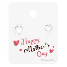 Heart Ear Studs On Happy Mother's Day Card - 925 Sterling Silver Jewellery Sets A4S35877