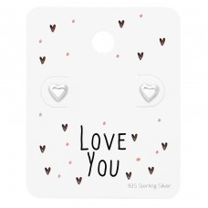 Heart Ear Studs On Love You Card - 925 Sterling Silver Jewellery Sets A4S35880