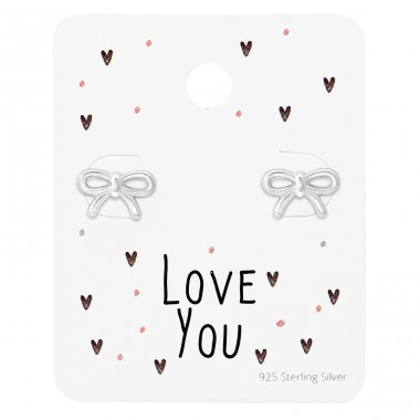 Bow Ear Studs On Love You Card - 925 Sterling Silver Jewellery Sets A4S35881