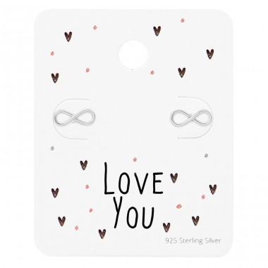Infinity Ear Studs On Love You Card - 925 Sterling Silver Jewellery Sets A4S35882