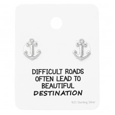 Anchor Ear Studs On Motivational Quote Card - 925 Sterling Silver Jewellery Sets A4S35891
