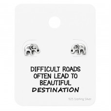 Elephant Ear Studs On Motivational Quote Card - 925 Sterling Silver Jewellery Sets A4S35892