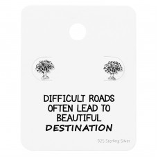 Tree Of Life Ear Studs On Motivational Quote Card - 925 Sterling Silver Jewellery Sets A4S35893