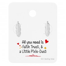 Feather  Ear Studs On Cute Card - 925 Sterling Silver Jewellery Sets A4S35904