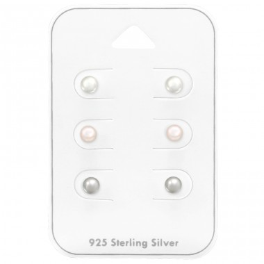 Synthetic Pearl 4 mm - 925 Sterling Silver Jewellery Sets A4S38735