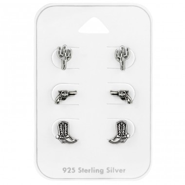 Cowboy Set - 925 Sterling Silver Jewellery Sets A4S39731