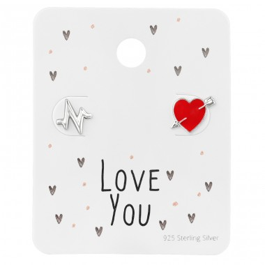 Silver Heartbeat Ear Studs On Love You Card - 925 Sterling Silver Jewellery Sets A4S39792