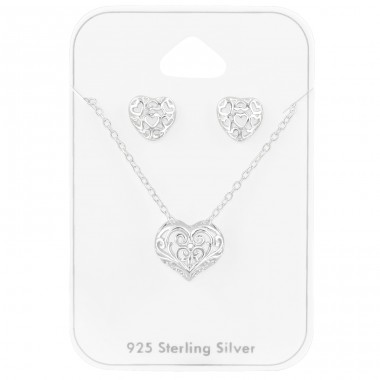 Filigree Heart - 925 Sterling Silver Jewellery Sets A4S39795