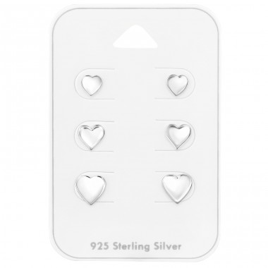 Heart 3x pairs on card - 925 Sterling Silver Jewellery Sets A4S39799