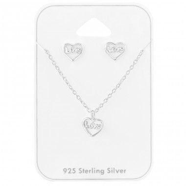 "Set ""Love"" in Heart shape  - 925 Sterling Silver Jewellery Sets A4S39800"