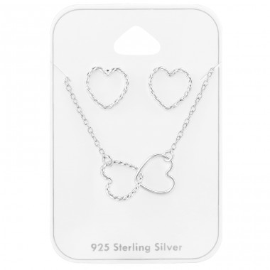 Linked Hearts full set on card - 925 Sterling Silver Jewellery Sets A4S39802