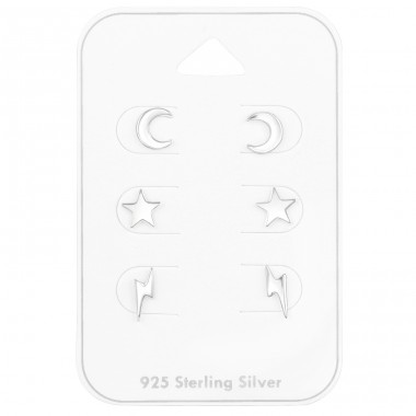Sky Stars Moon on card - 925 Sterling Silver Jewellery Sets A4S41475