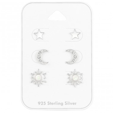 Sun Star Moon on card - 925 Sterling Silver Jewellery Sets A4S41476