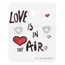Heart Ear Studs On Love Is In The Air Card - 925 Sterling Silver Jewellery Sets A4S34135