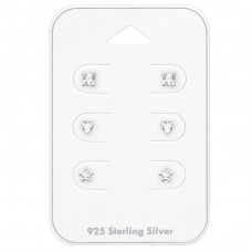 3mm Square, Heart And Star - 925 Sterling Silver Jewellery Sets A4S35243