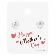 Heart Ear Studs On Happy Mother's Day Card - 925 Sterling Silver Jewellery Sets A4S35876