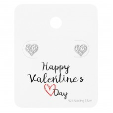 Heart Ear Studs On Happy Valentine's Day Card - 925 Sterling Silver Jewellery Sets A4S35879