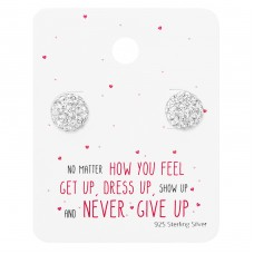 Round Ear Studs On Motivational Quote Card - 925 Sterling Silver Jewellery Sets A4S35885