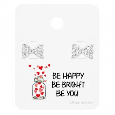 Bow Ear Studs On Motivational Quote Card - 925 Sterling Silver Jewellery Sets A4S35886