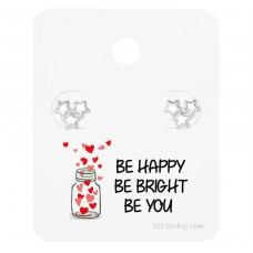 Star Ear Studs On Motivational Quote Card - 925 Sterling Silver Jewellery Sets A4S35887