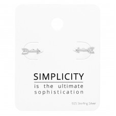 Arrow Ear Studs On Simplicity Card - 925 Sterling Silver Jewellery Sets A4S35899