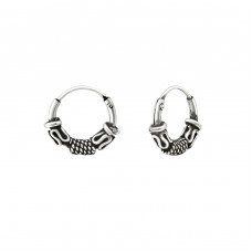 10mm - 925 Sterling Silver Bali Silver Hoops A4S25189