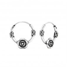 Rose - 925 Sterling Silver Bali Silver Hoops A4S29431