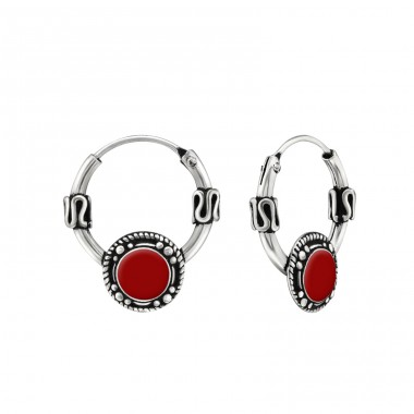 Round - 925 Sterling Silver Bali Silver Hoops A4S29569