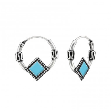 Square - 925 Sterling Silver Bali Hoops A4S29580