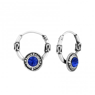 Round - 925 Sterling Silver Bali Silver Hoops A4S30197