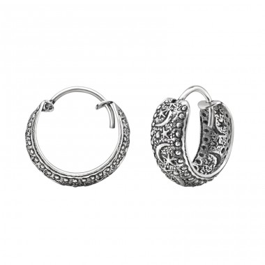 15mm Moon And Star - 925 Sterling Silver Bali Silver Hoops A4S30751