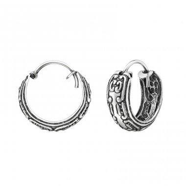 15mm Patterned - 925 Sterling Silver Bali Silver Hoops A4S30759