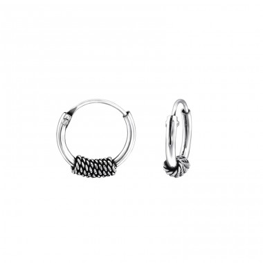 10mm - 925 Sterling Silver Bali Silver Hoops A4S31078